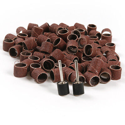 """100x Sand Ring 1/2"""" Sanding Bands Sleeves 80 Grit + 2x Mandrels For Rotary Tool"""