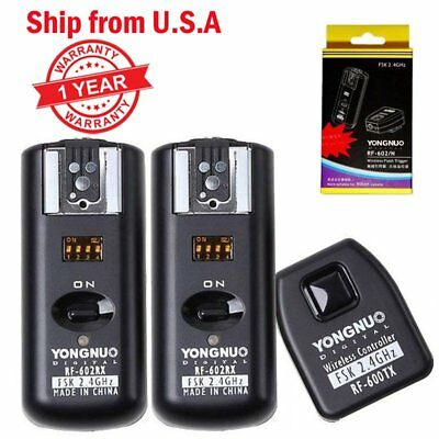 Yongnuo RF-602 Wireless Remote Flash Trigger + 2 Receivers for Nikon Camera US