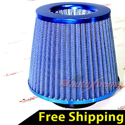 "UNIVERSAL 3"" 76mm AIR INTAKE Performance Clamp-On Dry FILTER Tapered Cone BLUE"