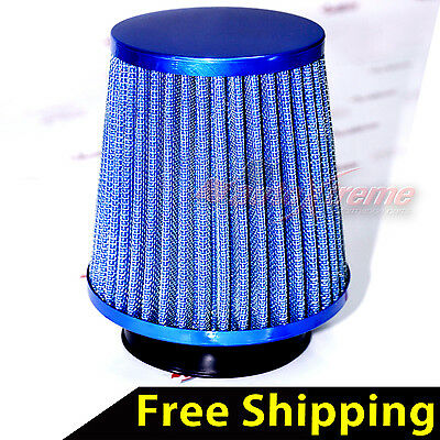 "UNIVERSAL 3"" 76mm AIR INTAKE Performance Clamp-On Dry FILTER NARROW Cone BLUE"