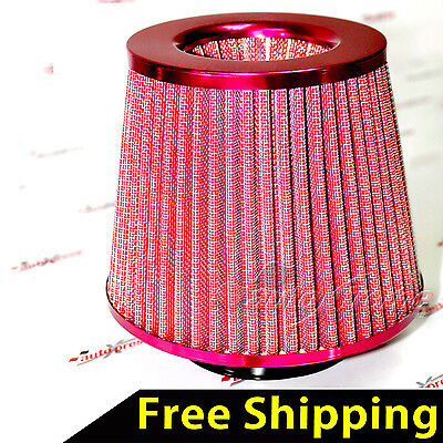 "UNIVERSAL 3"" 76mm AIR INTAKE Performance Clamp-On Dry FILTER Tapered Cone RED"