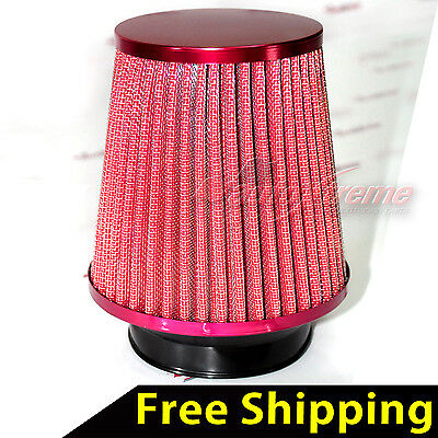 "UNIVERSAL 3"" 76mm AIR INTAKE Performance Clamp-On Dry FILTER NARROW Cone RED"