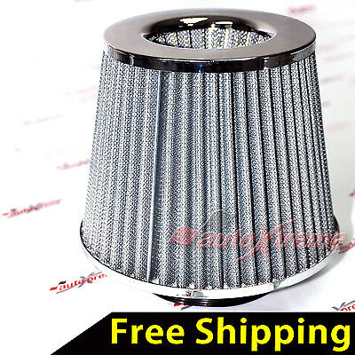 "UNIVERSAL 3"" 76mm AIR INTAKE Performance Clamp-On Dry FILTER Tapered Cone CHROME"