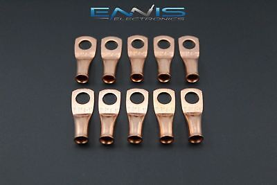 8 Gauge Copper 1/4 Ring 10 Pk Crimp Terminal Connector Awg Ga Car Eye Cur814