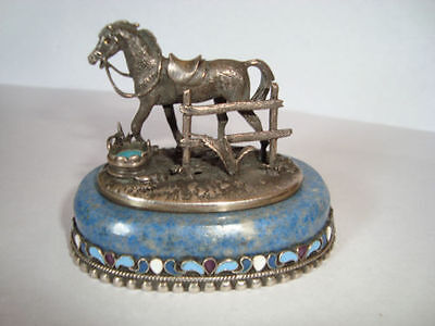 "Russian Silver & Enamel Horse Figurine On Marble Marked ""at & ""84"""