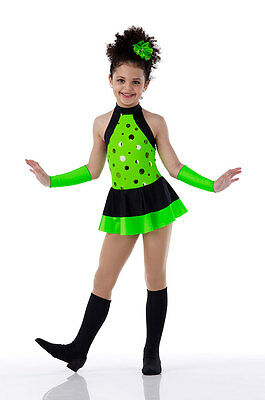 Lime Flourescent Jazz Dress Costume Dance SHAKE UP THE PARTY Mod 60's CXS- 2XL