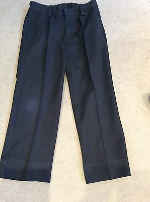 Next Boys Navy Blue Smart Trousers With Adjustable Waist - 9 Years