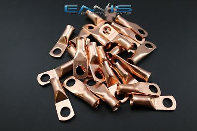 6 Gauge Copper 1/4 Ring 10 Pk Crimp Terminal Connector Awg Ga Car Eye Cur614