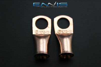 1/0 Gauge Copper 1/2 Ring 2 Pk Crimp Terminal Connector Awg Battery Cur1012