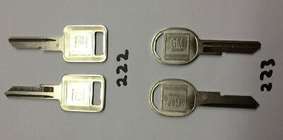 NEW 1967 Chevy or GM 4 pcs Ign, Doors, Glovebox, Trunk KEY BLANKS  FREE SHIPPING