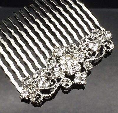Art Deco Crystal Hair Comb Clip Pin Silver Formal Wedding Diamante Bridesmaid
