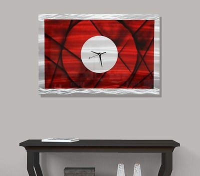 Modern Abstract Red Wall Clock Painting Metal Art - Premonition by Jon Allen
