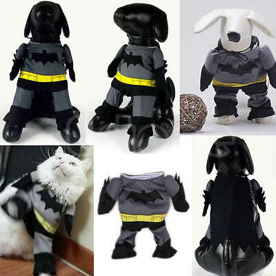 Pet Cat Dog Puppy Cotton Clothes Funny Costume Outfit Jumpsuit Batman Pants Suit