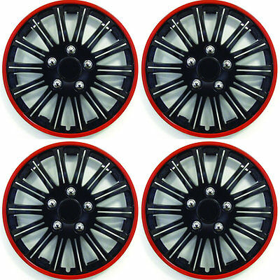 """SET OF 4 x 15 INCH RED AND BLACK SPORTS WHEEL TRIMS COVER HUB CAPS 15"""""""