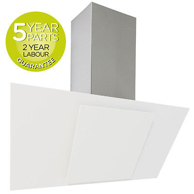 MyAppliances REF28208 90cm Ice White Angled Glass Chimney Cooker Hood Extractor