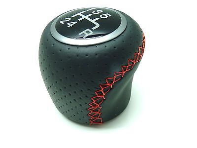 Fiat Punto Evo Racing Black Leather Gear Knob Red Stitching Brand New Genuine