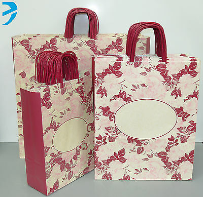 PAPER CARRIER BAGS HIGH QUALITY with TWISTED HANDLE GIFT BOUTIQUE BAG ROSE