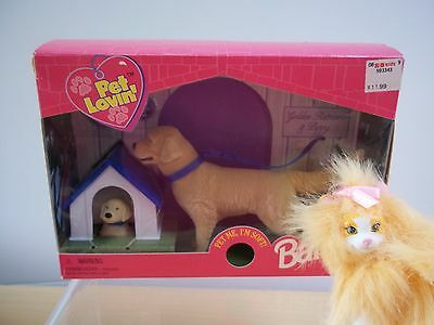 Mattel Barbie Pets Golden Retriever and Puppy and Tabby Cat - 1998 - Excellent!
