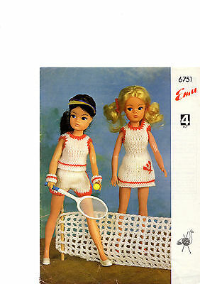 dolls clothes sindy or barbie tennis outfit  4 ply knitting pattern 99p