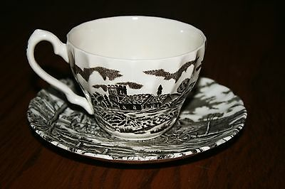 """Myott Staffordshire """"Royal Mail"""" brown transferware cup and saucer - MINT!"""