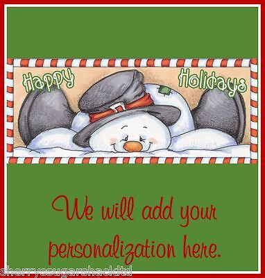 Christmas Personalized FREE Snowman Snow Hershey Candy Wrapper Party Favors NEW