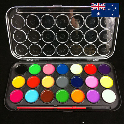 Watercolour Water Colour Kids Painting Set Case Box Artist Paint Brush School