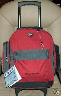 """Red Chess 18"""" Rolling Bookbag Special Quality Made for Chess Players"""