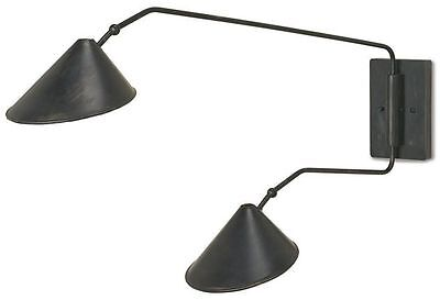 Serpa French Black/Gold Leaf Contemporary Double-Arm Wall Sconce