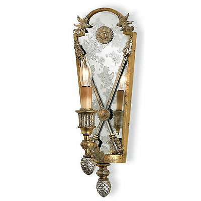 Napoli Vintage Gold/Silver Leaf Mirrored Empire Wall Sconce
