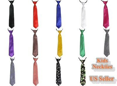 Boys Kids Children Fashion Wedding Solid Color Elastic Tie Necktie School Boys