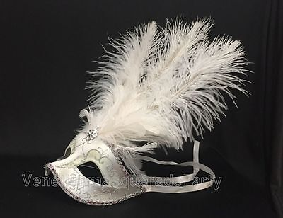 Venetian White Masquerade Mask Show Girl Ostrich feather Costume Dress up Party