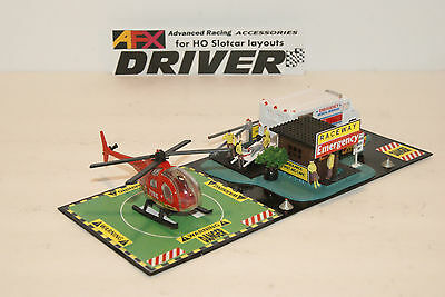 RACEWAY EMERGENCY has 8 PEOPLE , HELIPORT for LAYOUTS with SLOT CAR GRANDSTANDS