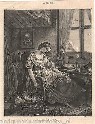 Antique print the laborer lady resting / napping 1861 gravure ouvrière
