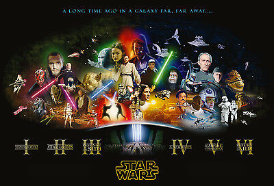 Star Wars Cast Giant Poster - A0 A1 A2 A3 A4 Sizes
