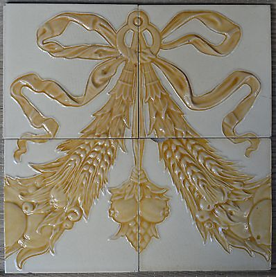 UNKNOWN EUROPEAN - ANTIQUE ART NOUVEAU - 4-TILE  SET C1900
