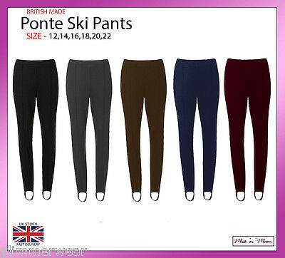 New Ladies Pull On Ski Pants Elasticated Stirrup Women Trouser Plus Sizes 12-22