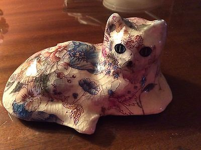 Ceramic Laying Down Cat Figurine w Paisley Crinkle Design Unknown Creator