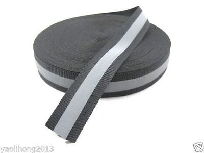 20M Reflective Tape Strip Sew-On Silver Black Fabric Trim Safty Vest, Width 1""