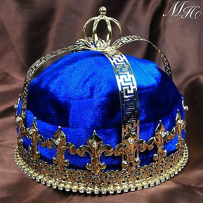 Blue Velvet Crown Imperial Medieval Tiara Diadem For Men Pageant Party Costumes