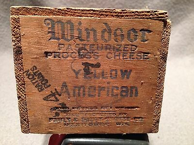 Vintage Windsor Yellow American Cheese Wooden Box W/ Ration Point Stamp