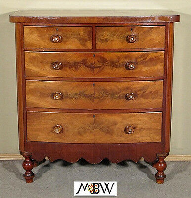 Antique Mahogany Victorian Bow Front Chest of Drawer  n35