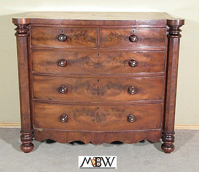 c1870 Antique Mahogany Victorian Bow Front Chest of Drawers bak86