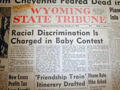 1947 newspapers NEGRO BABY barred from MOOSE LODGE Beauty Contest in Wyoming