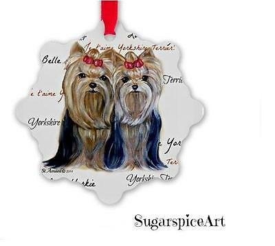 Yorkies Yorkshire Terrier Christmas Ornament Tree Decoration by SugarspiceArt