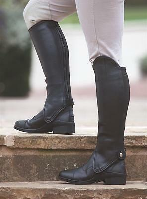 Shires synthetic leather show gaiters adults horse riding half chaps