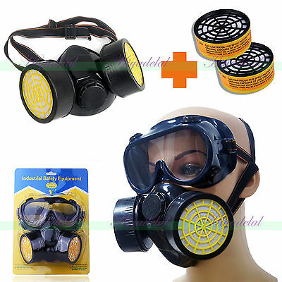 New Respirator Face Mask Goggles Kit Twin Spray Paint Dust Filter + 2 Cartridges