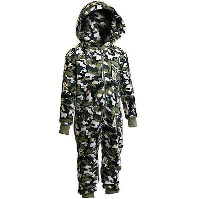 Bedlam Boys Camouflage 1Onesie Onezi Fleece Hooded Jumpsuit Playsuit Green Grey