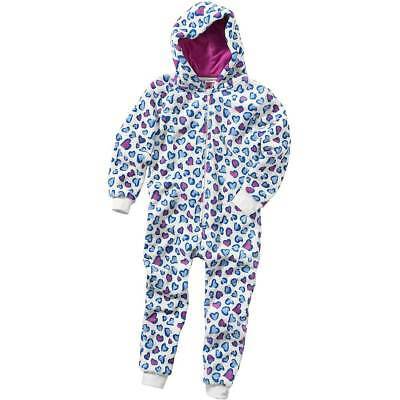 Love Hearts 1Onesie Onezi Girls Fleece Jumpsuit Playsuit Hooded Cream Blue Pink