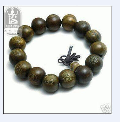 Tibetan Sandalwood Carved Buddha Prayer Beads Bracelet shipping free