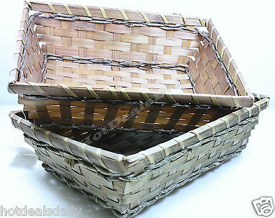 "LOT OF 2 RECTANGLE BASKETS 10"" X 7"" X 3"" BROWN COLOR BREAD SNACKS GIFT GIVING"